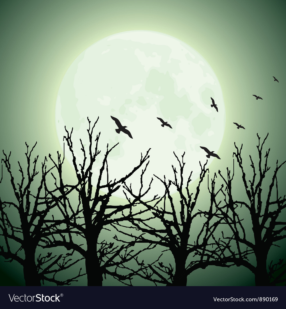 Big moon trees and birds vector | Price: 1 Credit (USD $1)