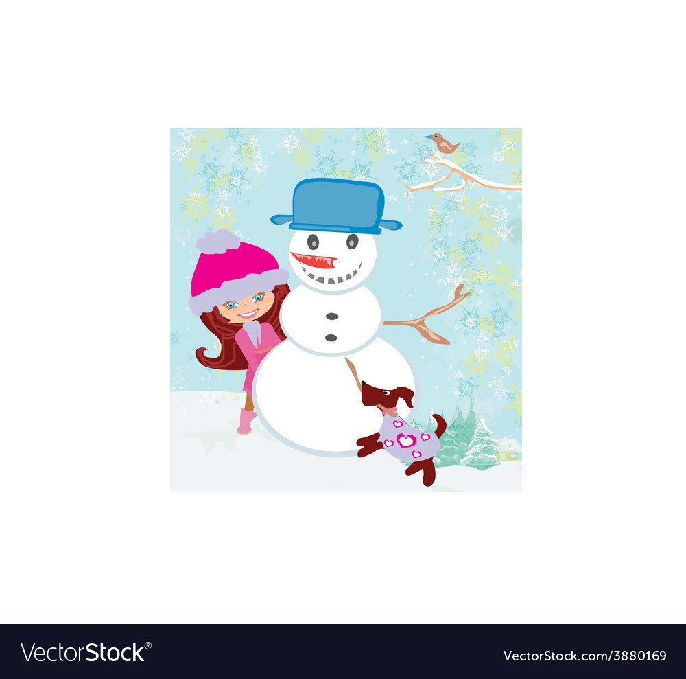 Cute girl making snowman vector | Price: 1 Credit (USD $1)