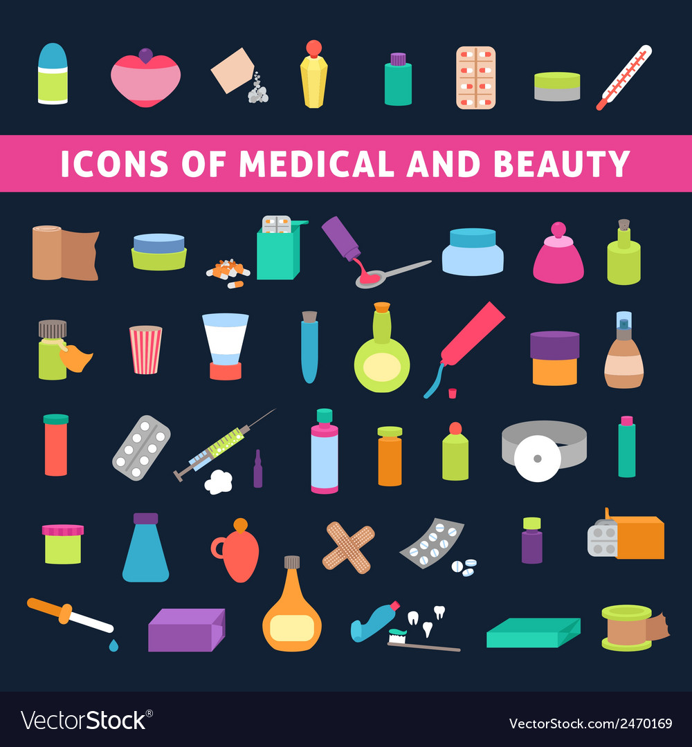 Flat icons for medicine and beauty vector | Price: 1 Credit (USD $1)