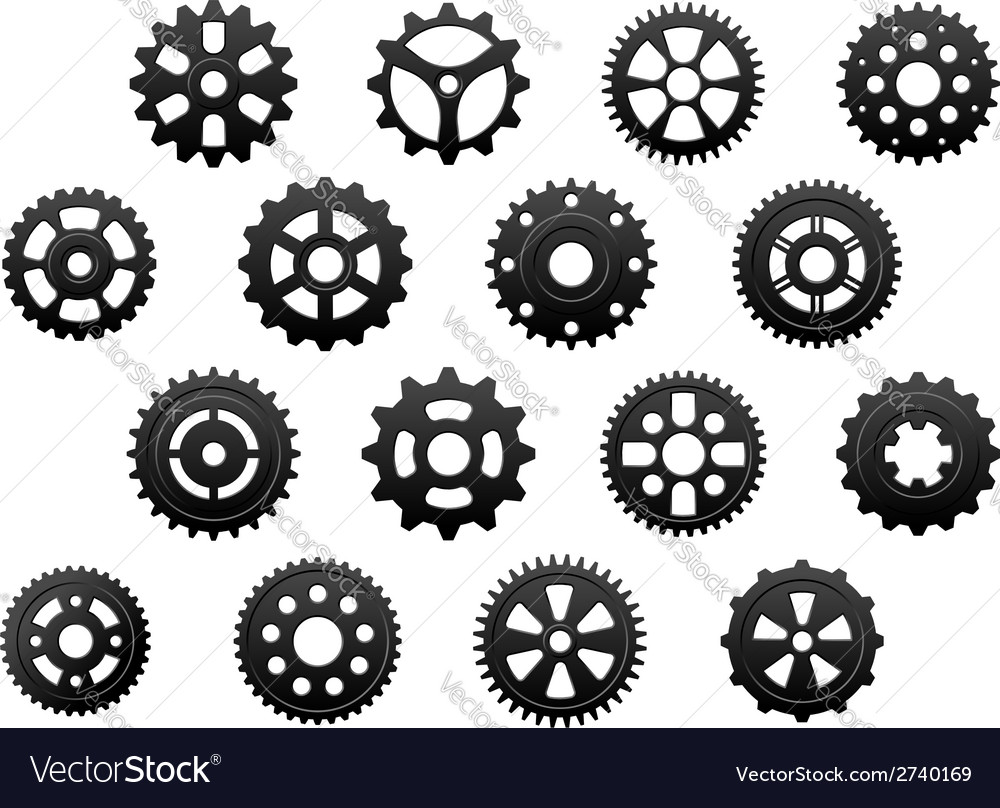 Gears and pinions silhouettes set vector | Price: 1 Credit (USD $1)