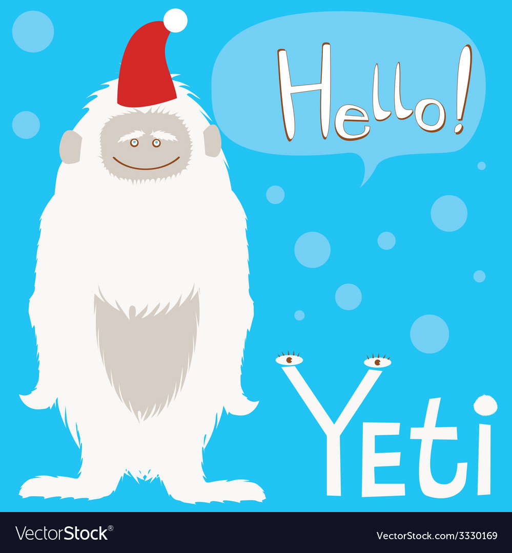 Holiday card with cute yeti character vector | Price: 1 Credit (USD $1)