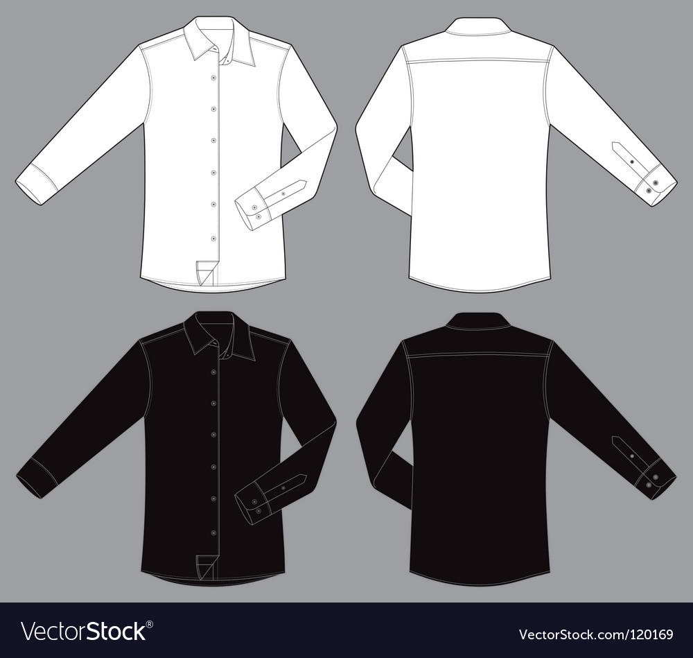 Men long sleeves business shirt vector | Price: 1 Credit (USD $1)
