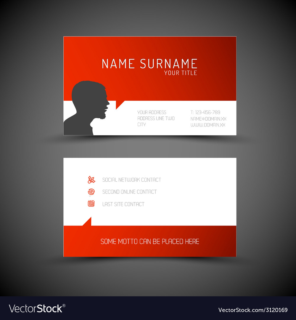 Modern simple red business card template with user vector | Price: 1 Credit (USD $1)
