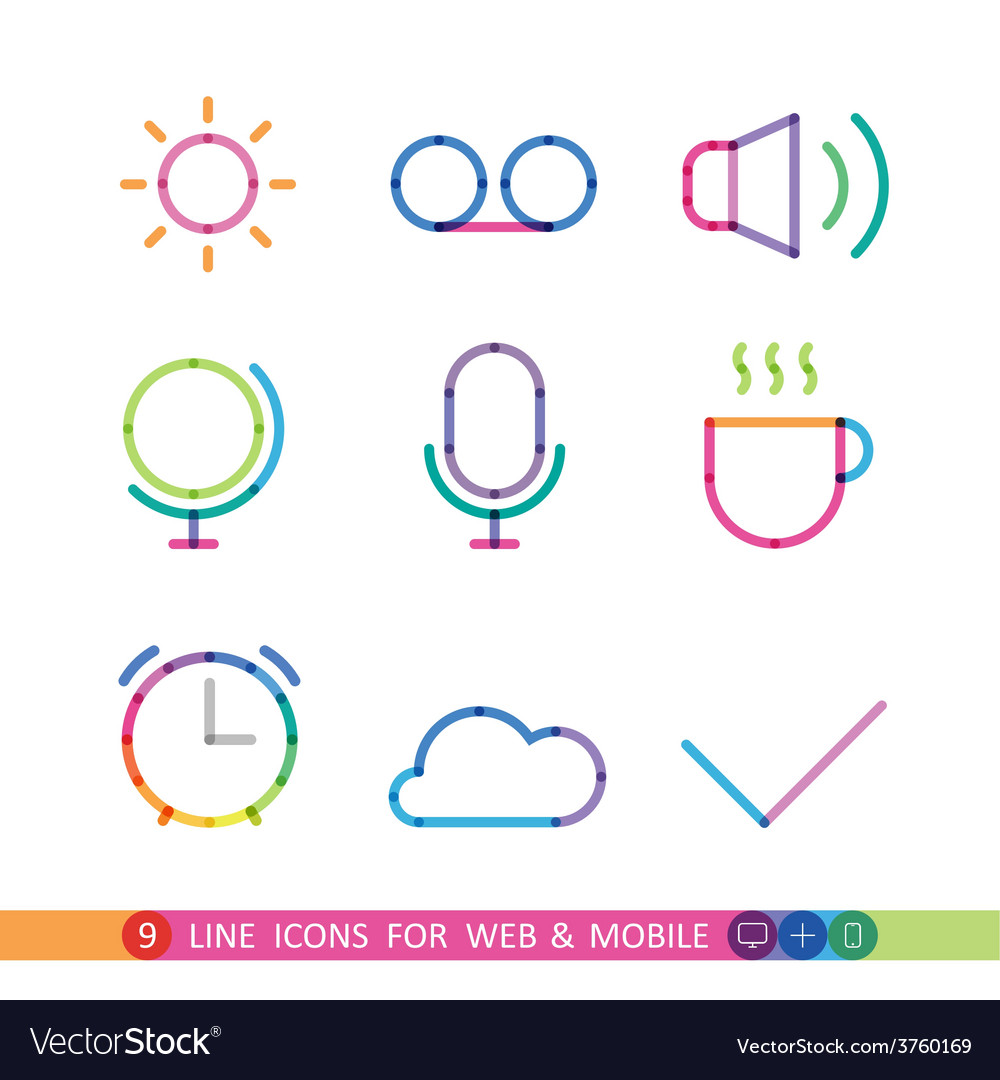 Set from 9 line icons for web and mobile vector | Price: 1 Credit (USD $1)