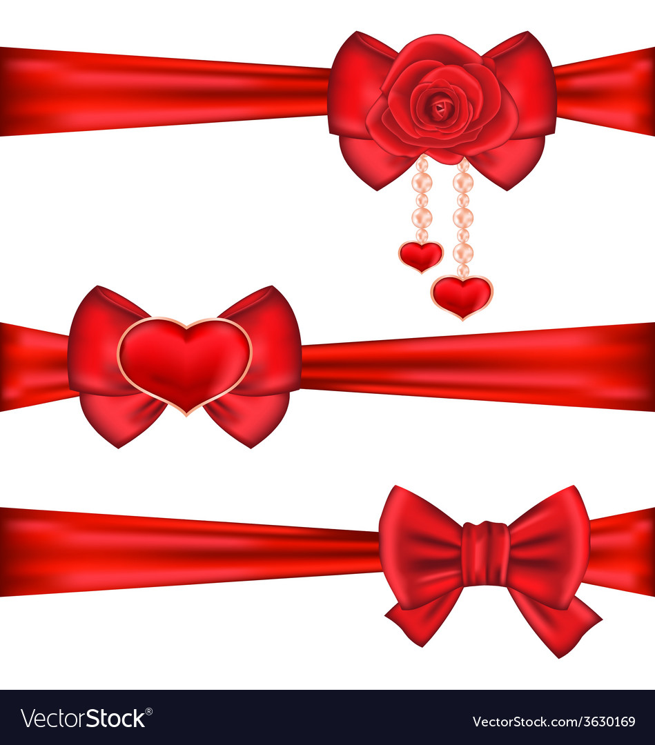 Set red gift bows ribbons with rose and heart vector | Price: 1 Credit (USD $1)