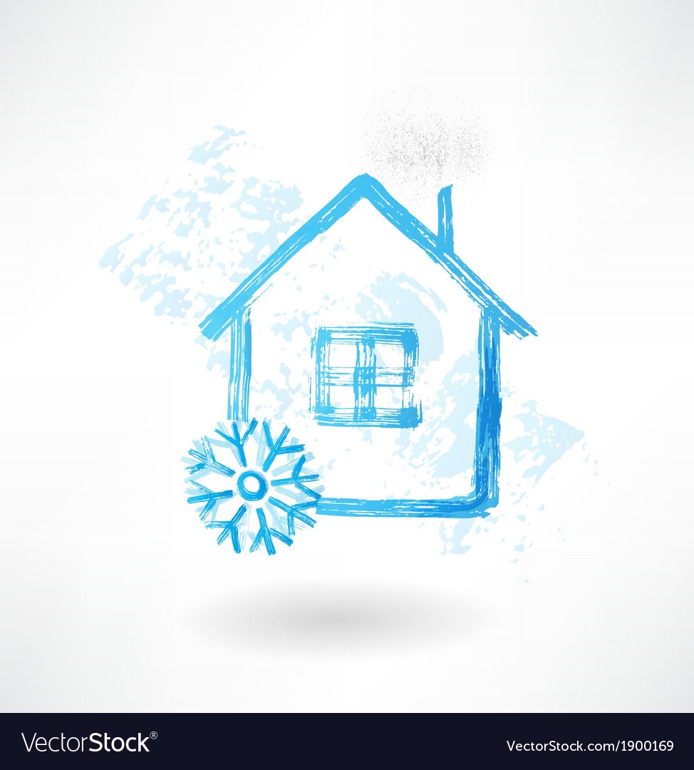 Snow house grunge icon vector | Price: 1 Credit (USD $1)