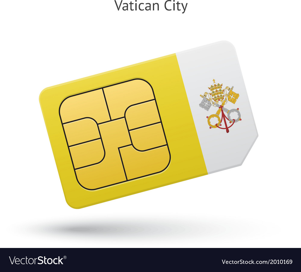 Vatican city mobile phone sim card with flag vector | Price: 1 Credit (USD $1)