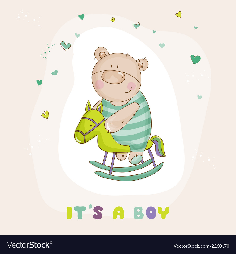 Baby bear on a horse - baby shower card vector | Price: 1 Credit (USD $1)
