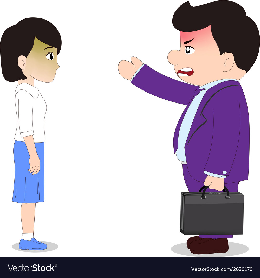 Businessman cartoon boss man firing an employee vector | Price: 1 Credit (USD $1)