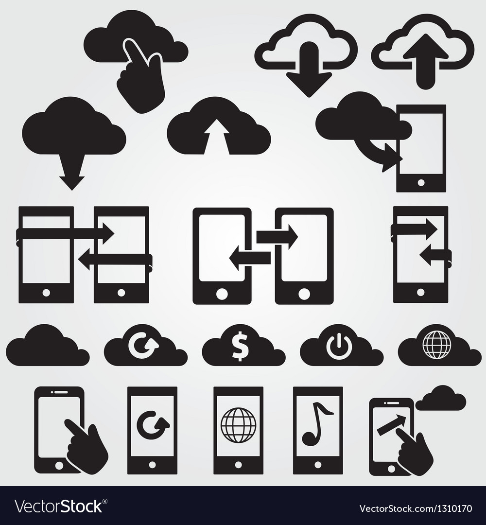 Cloud app icon set vector | Price: 1 Credit (USD $1)