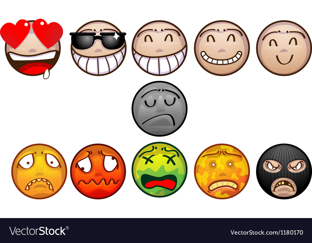 Face emoticon set vector | Price: 3 Credit (USD $3)