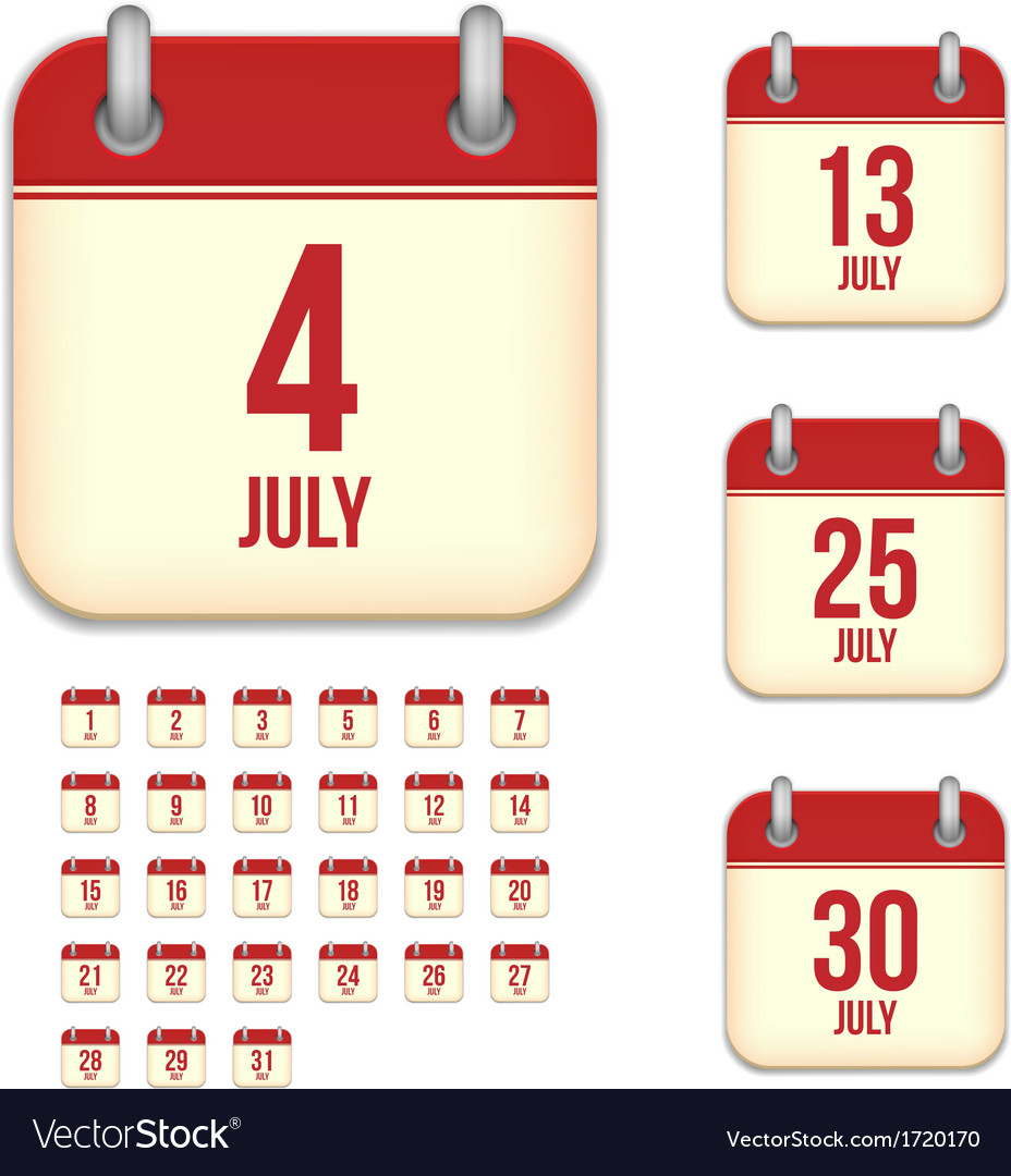 July calendar icons vector | Price: 1 Credit (USD $1)