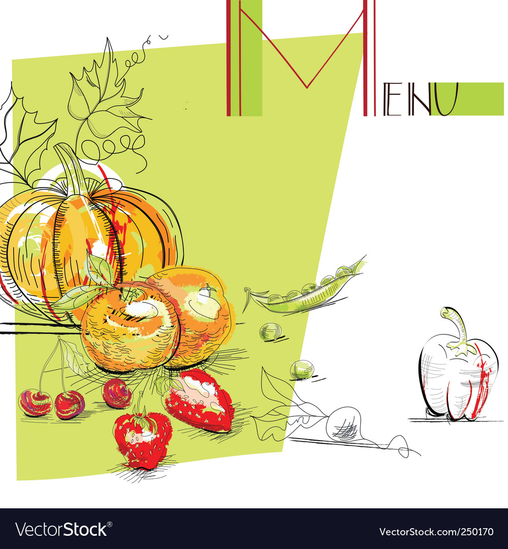 Menu with fruit and vegetables vector | Price: 1 Credit (USD $1)