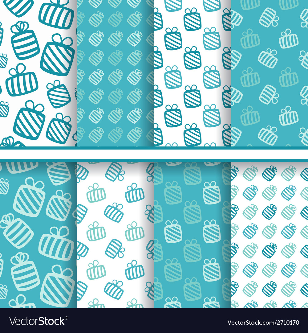 Set of seamless blue patterns with gifts vector | Price: 1 Credit (USD $1)