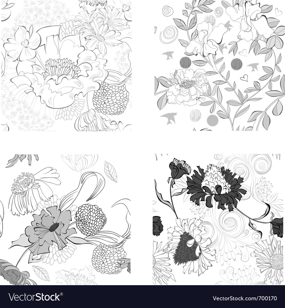 Set of summer seamless wallpaper vector | Price: 1 Credit (USD $1)