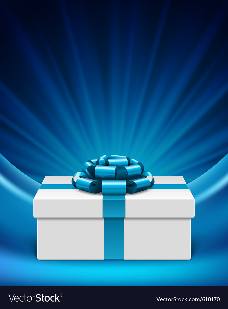 White gift box with blue ribbon vector | Price: 1 Credit (USD $1)