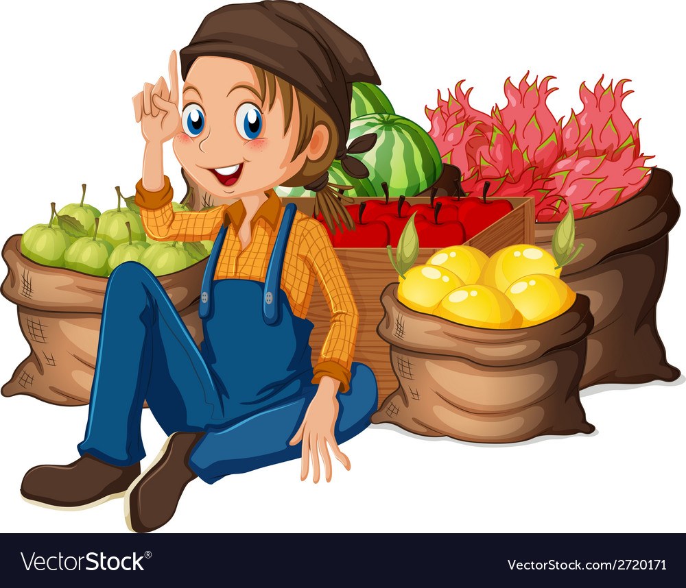 A young farmer near his harvested fruits vector | Price: 1 Credit (USD $1)