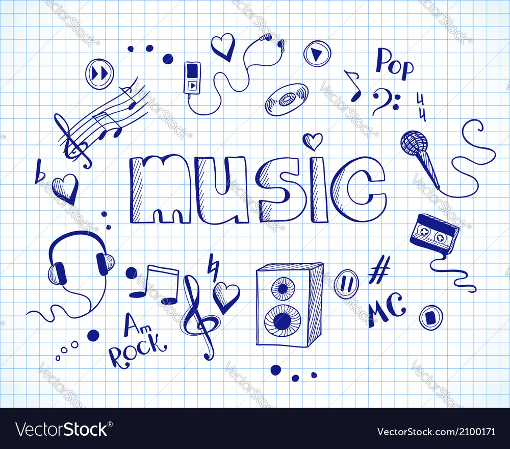 Background with music elements vector | Price: 1 Credit (USD $1)
