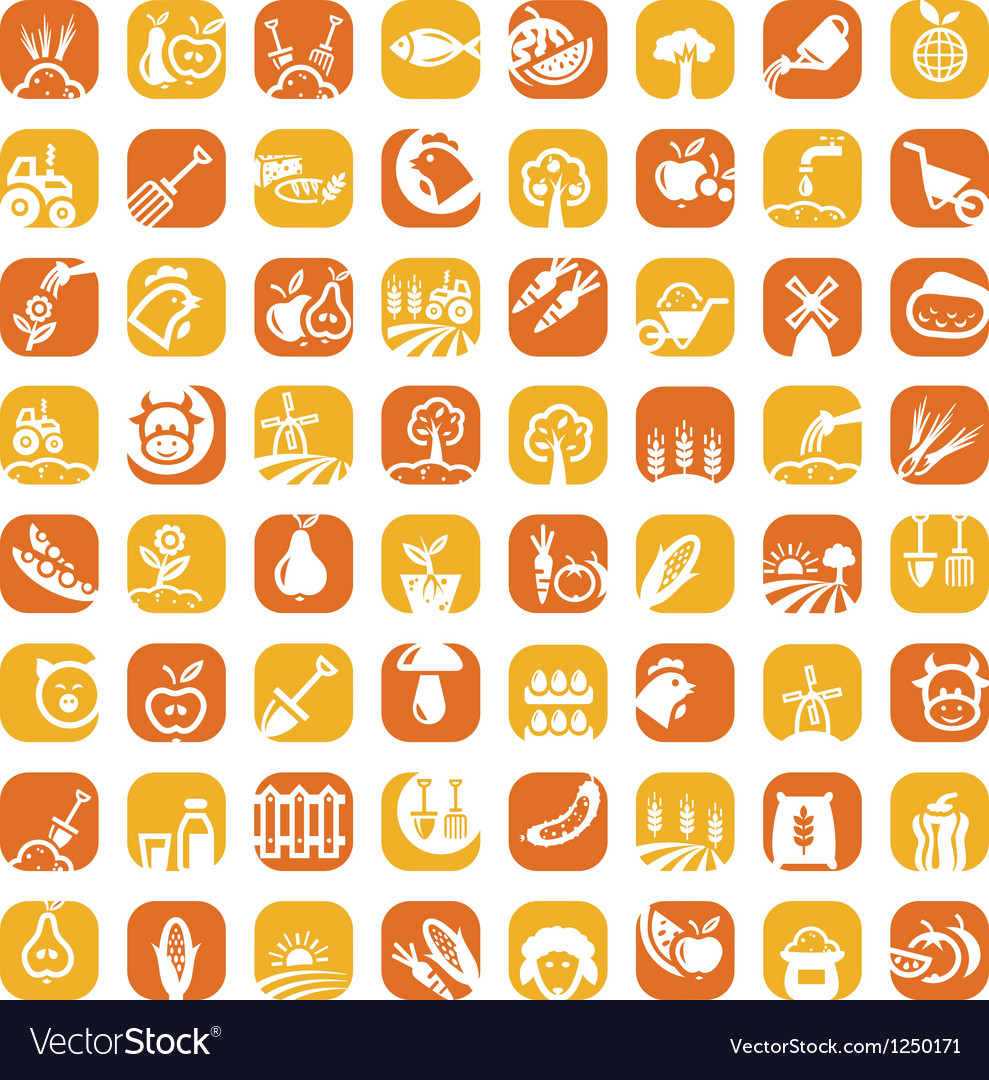 Big color farm icon set vector | Price: 1 Credit (USD $1)