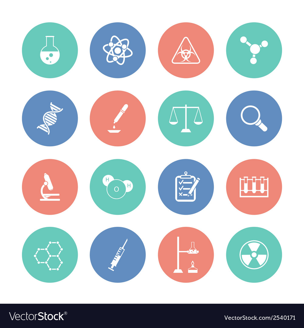 Chemistry icons on color circles vector | Price: 1 Credit (USD $1)