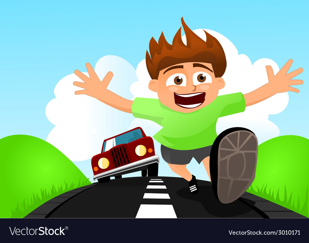 Child running away from car vector | Price: 1 Credit (USD $1)