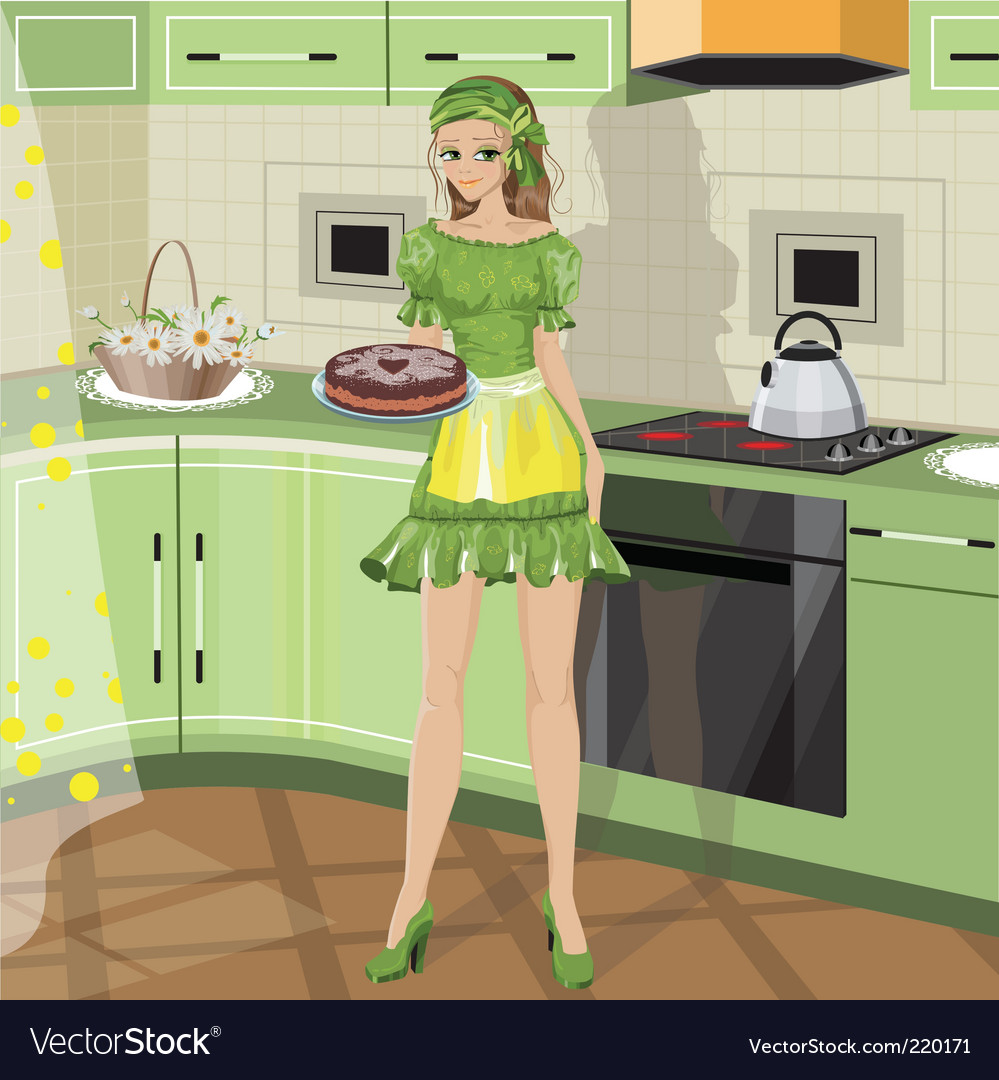 Girl with baking vector | Price: 5 Credit (USD $5)