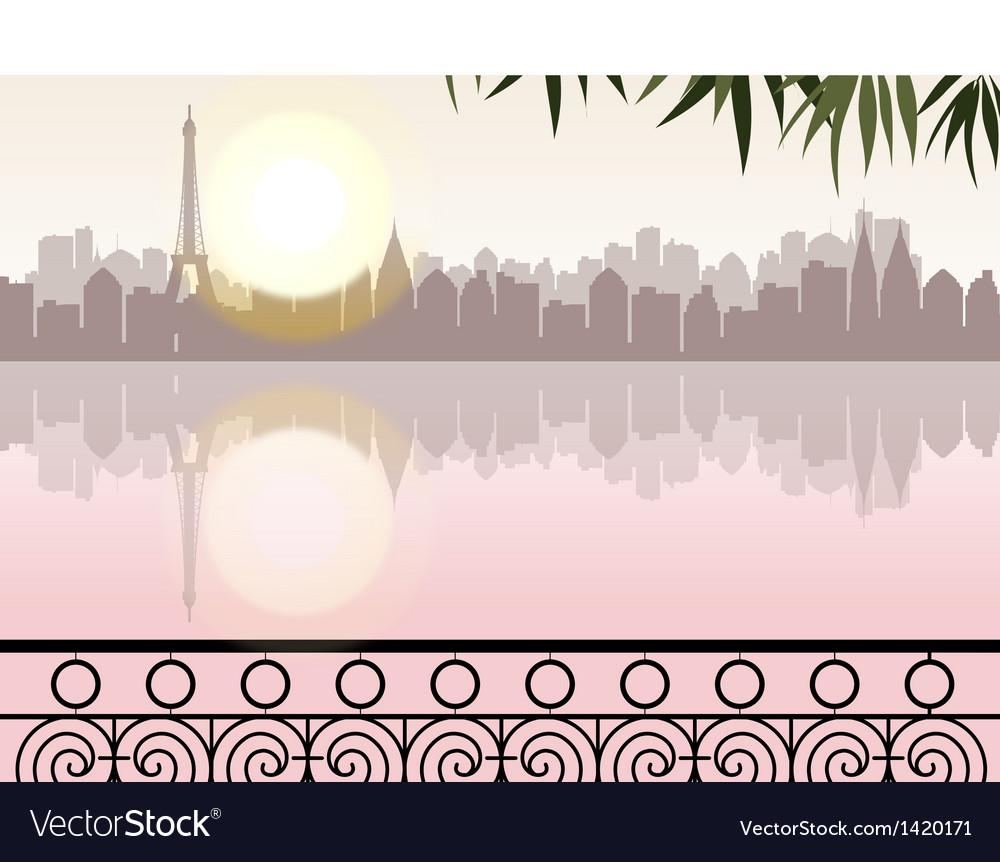 Lakeside cityscape vector | Price: 1 Credit (USD $1)