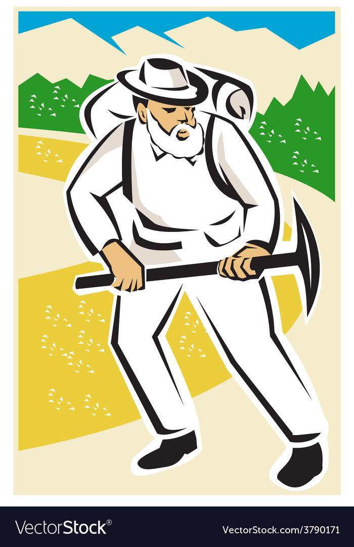 Miner with pick ax and backpack mountains retro vector   Price: 1 Credit (USD $1)