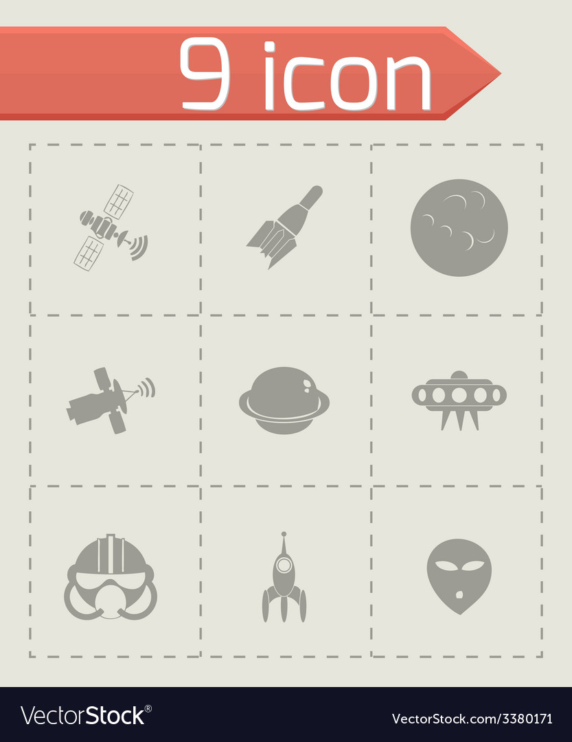 Space icon set vector   Price: 1 Credit (USD $1)