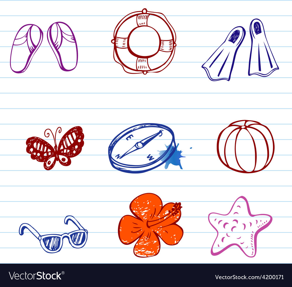 Summer doodles vector | Price: 1 Credit (USD $1)