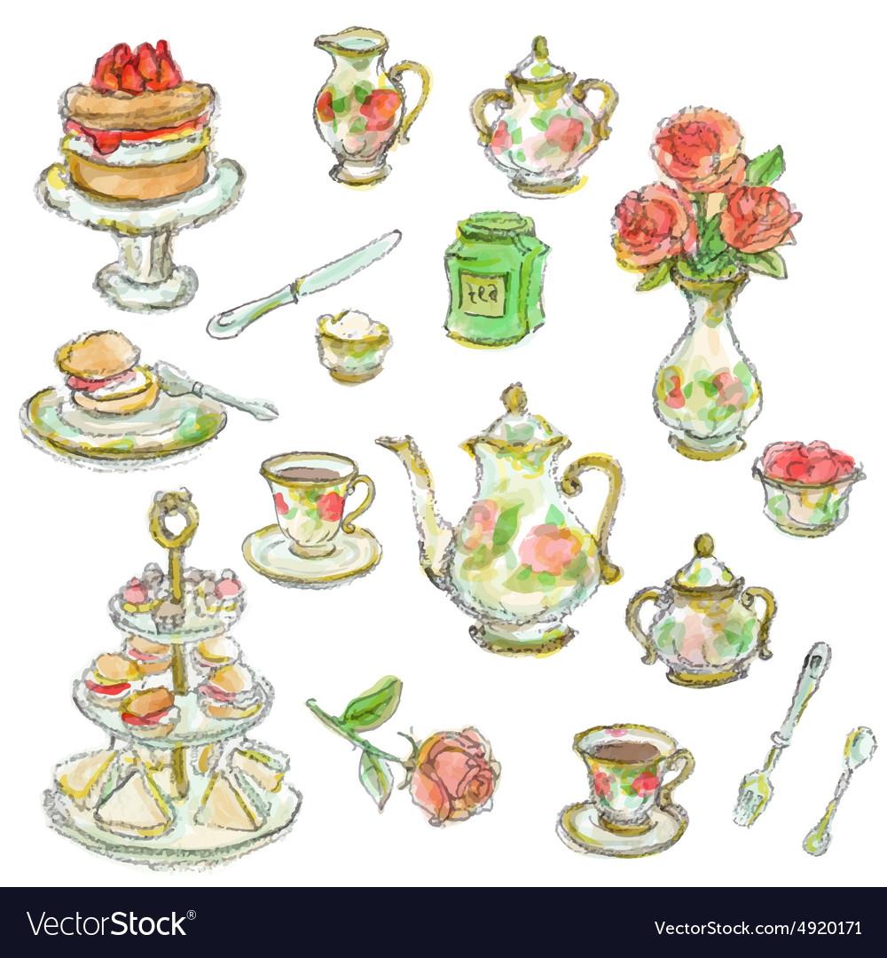 Tea time scrapbook set vector