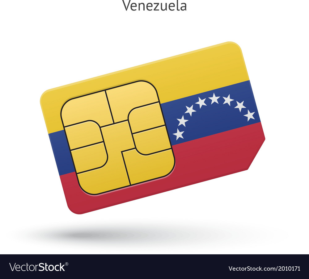 Venezuela mobile phone sim card with flag vector | Price: 1 Credit (USD $1)
