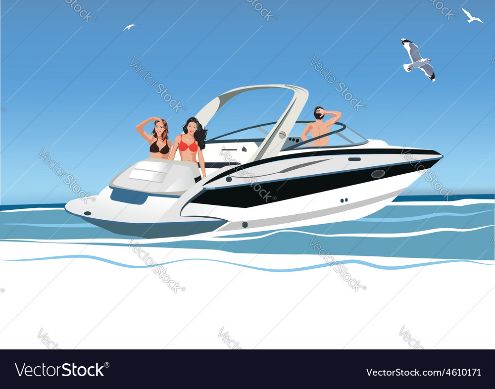 Young women and men resting on yacht vector