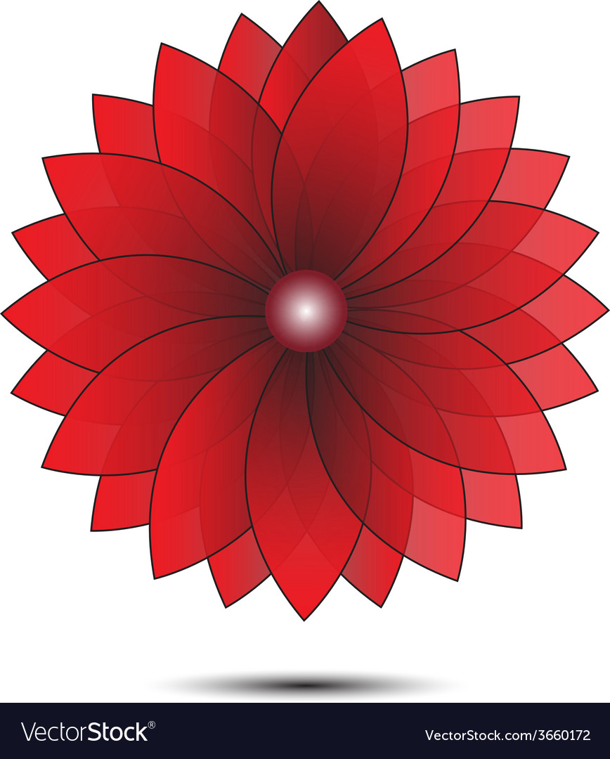 Abstract flower red geometrical vector | Price: 1 Credit (USD $1)
