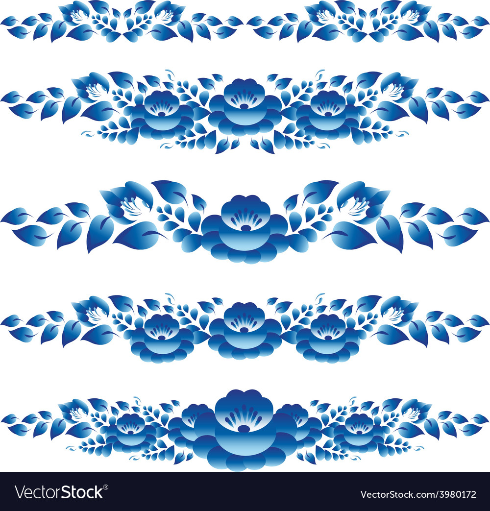 Blue floral design elements and page decoration to vector | Price: 1 Credit (USD $1)