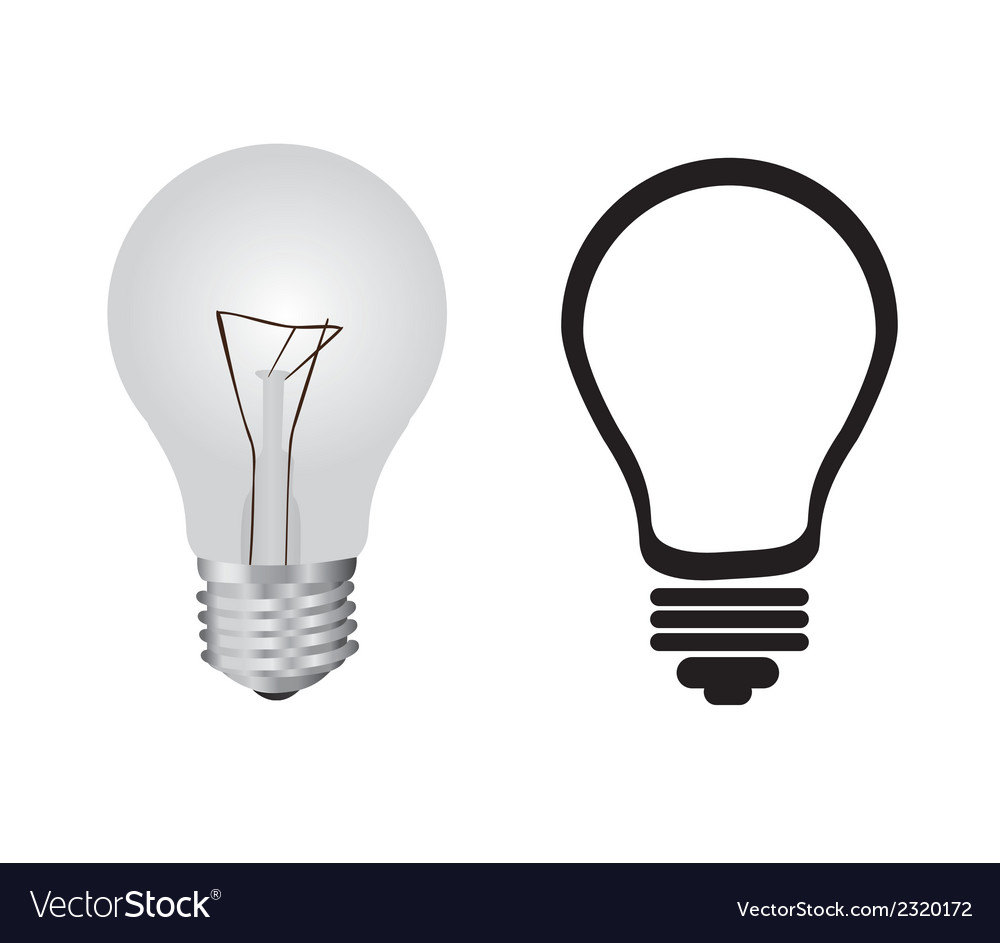 Bulb and shape of bulb isolated on white backgroun vector | Price: 1 Credit (USD $1)