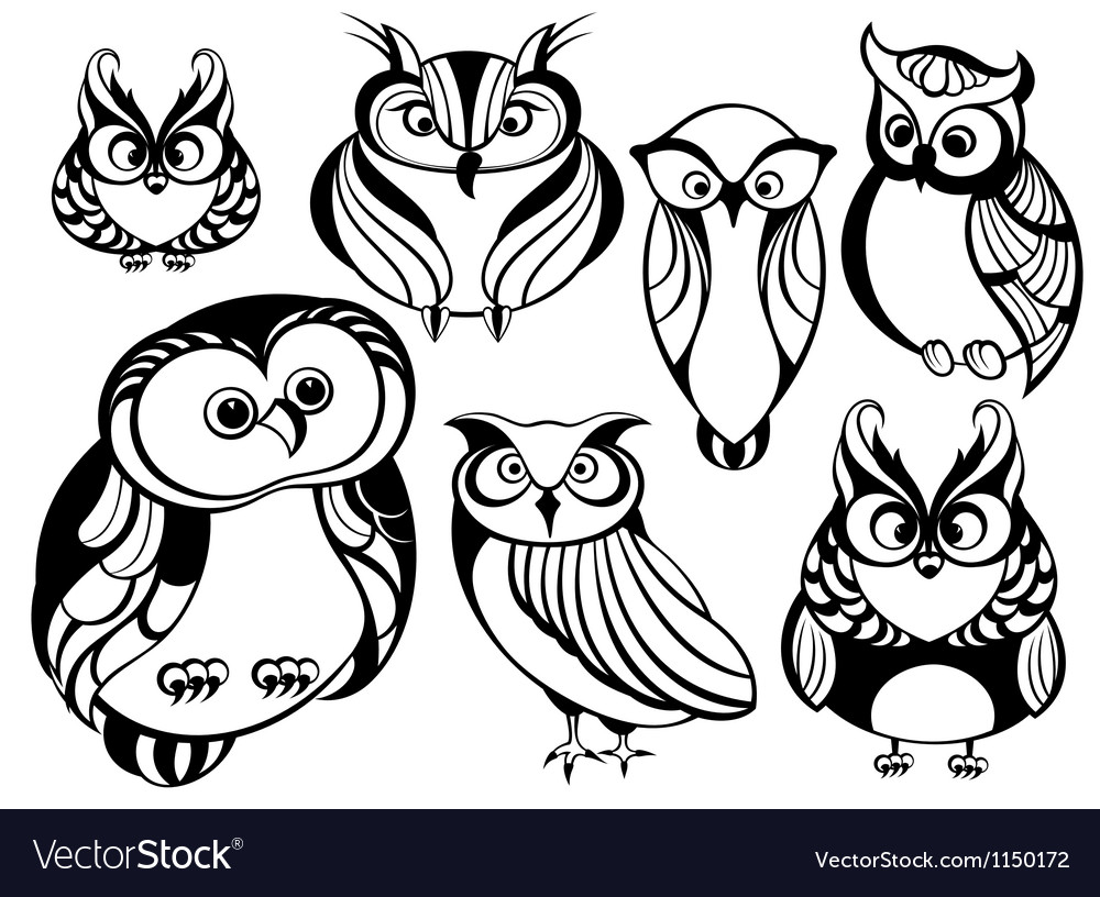 Decorative owls vector | Price: 1 Credit (USD $1)