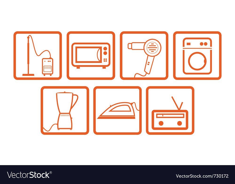Domestic icons set vector | Price: 1 Credit (USD $1)