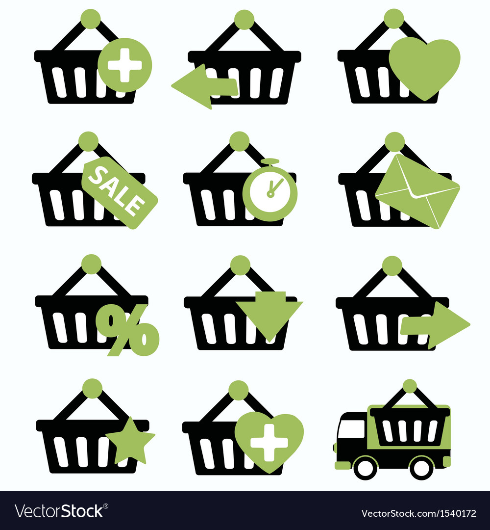 Ecommerce shopping basket flat icons set 2 vector | Price: 1 Credit (USD $1)