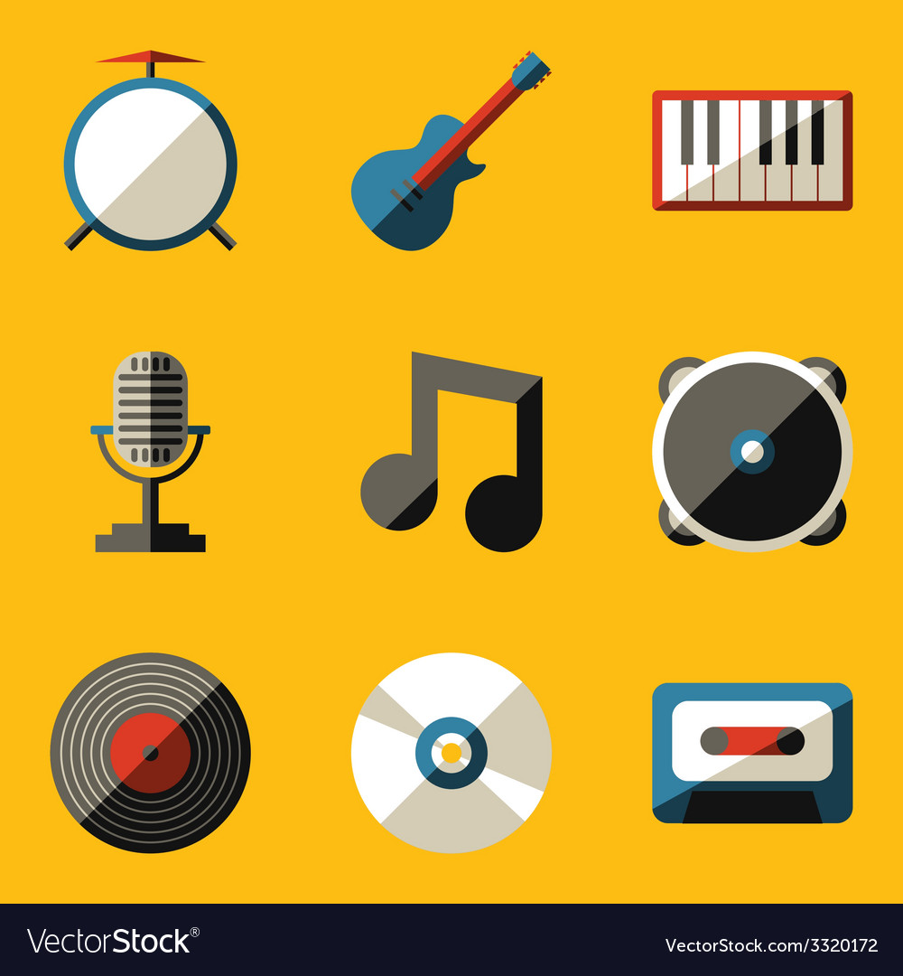 Flat icon set music vector | Price: 1 Credit (USD $1)