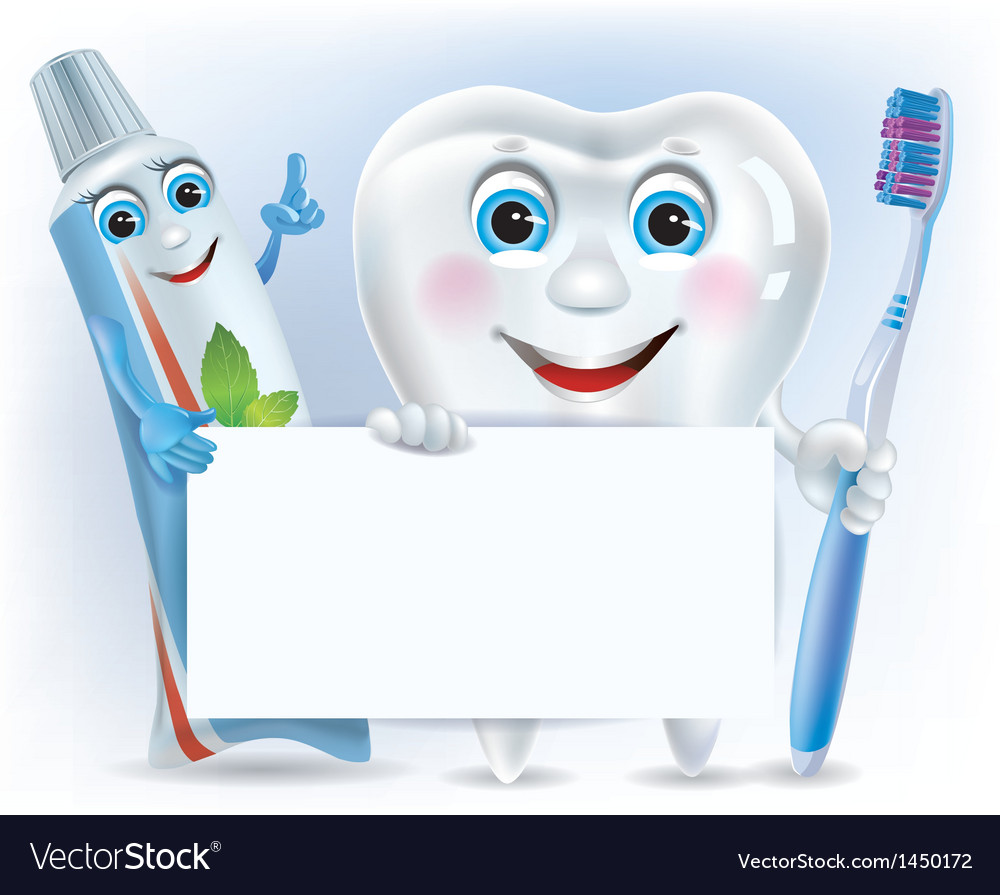 Funny tooth tooth paste and tooth brush with blank vector | Price: 1 Credit (USD $1)