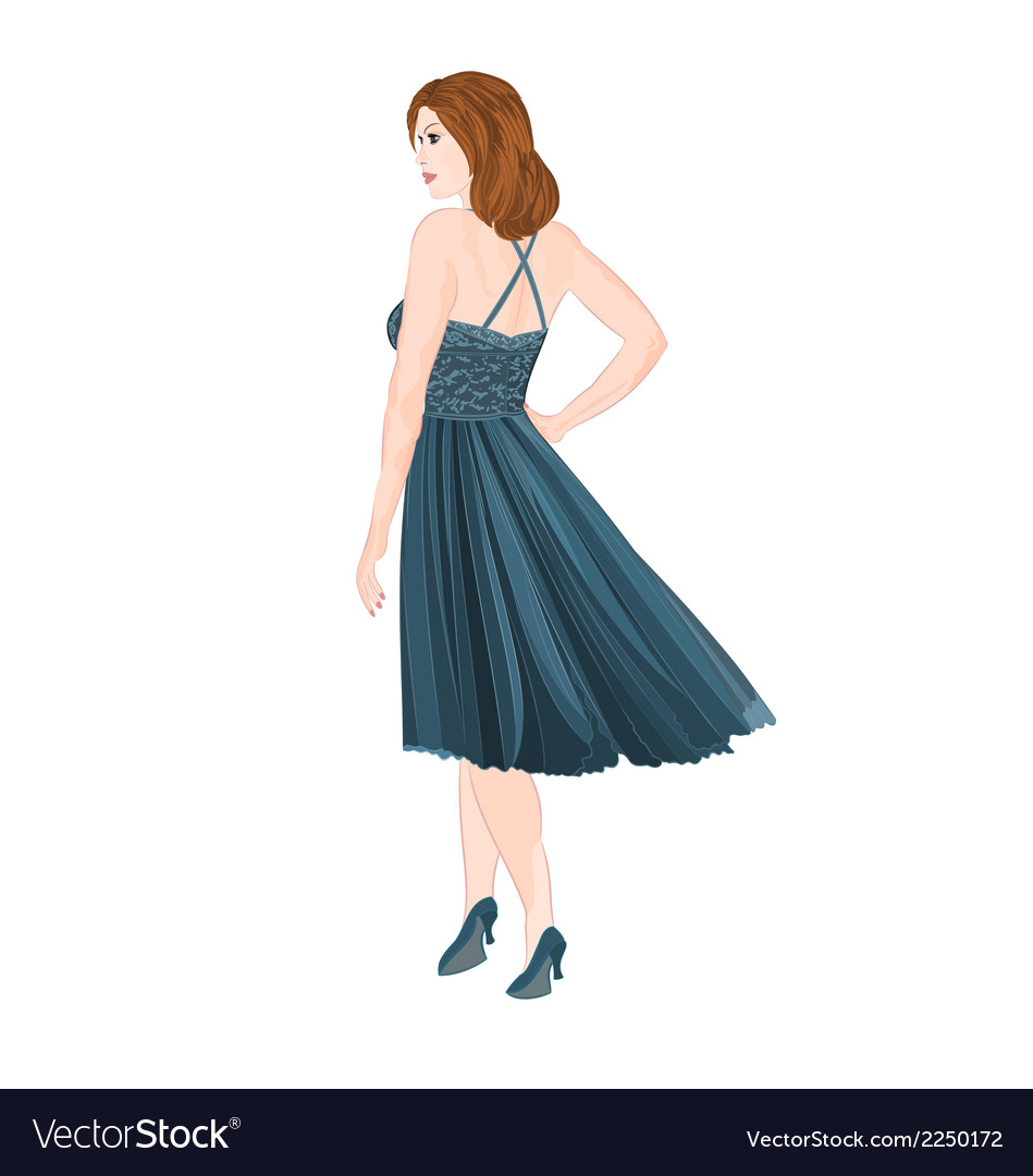 Girl figure in blue dress vector | Price: 1 Credit (USD $1)