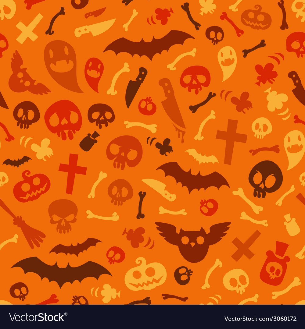 Halloween symbols seamless pattern orange vector | Price: 1 Credit (USD $1)