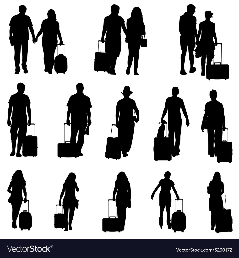 Man and woman with travel bag black silhouette vector | Price: 1 Credit (USD $1)