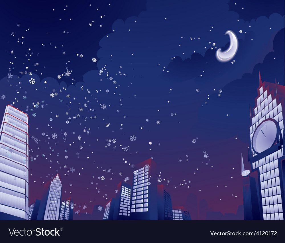 Night city landscape vector | Price: 3 Credit (USD $3)
