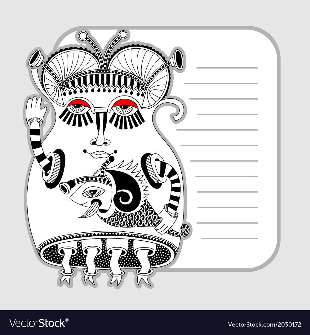 Original modern cute ornate doodle fantasy monster vector   Price: 1 Credit (USD $1)