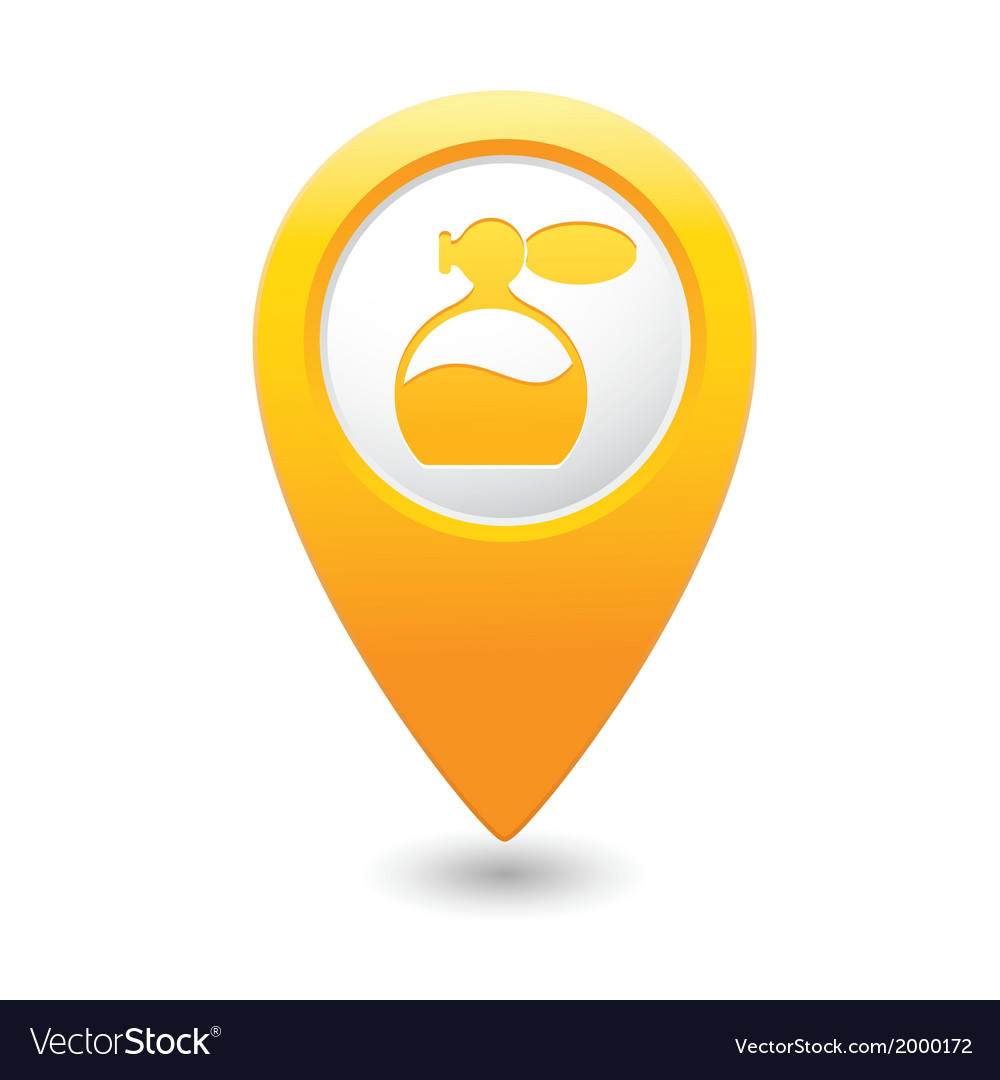 Perfume icon yellow map pointer vector | Price: 1 Credit (USD $1)