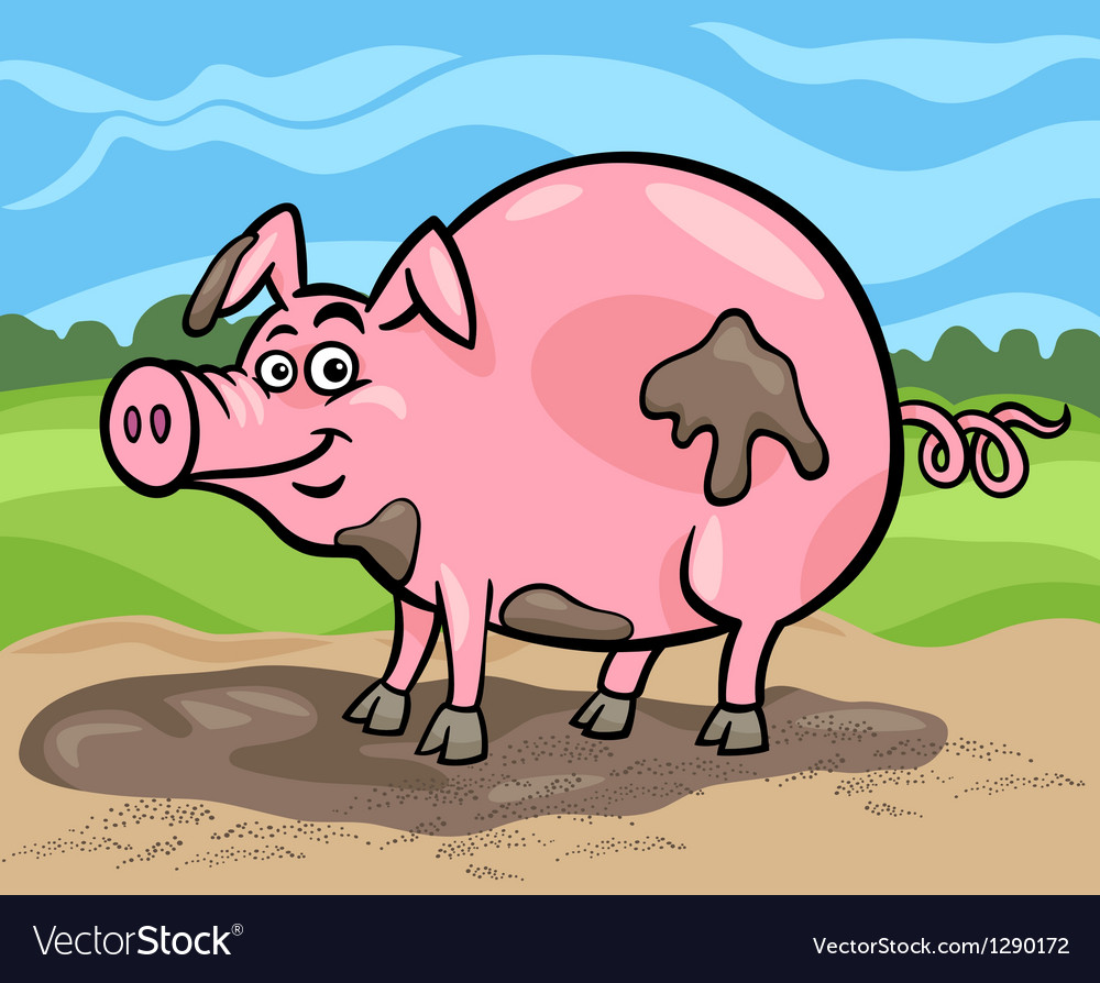 Pig farm animal cartoon vector   Price: 1 Credit (USD $1)