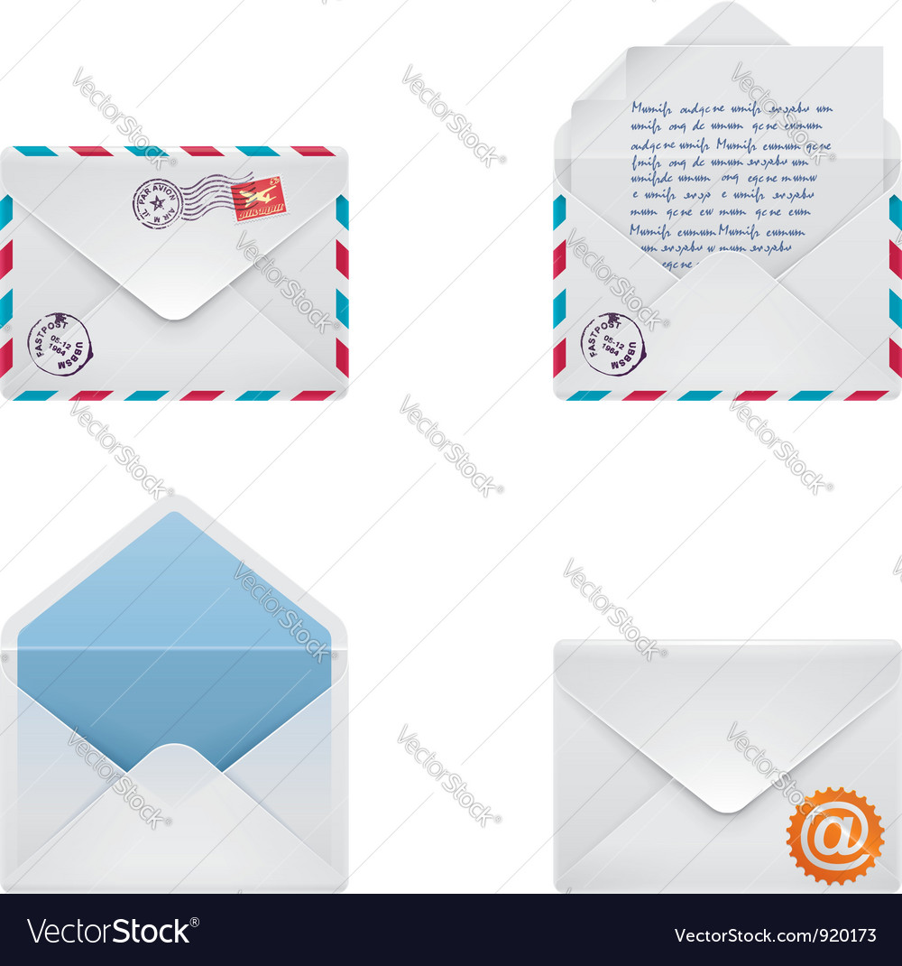 Envelope icon set vector | Price: 3 Credit (USD $3)