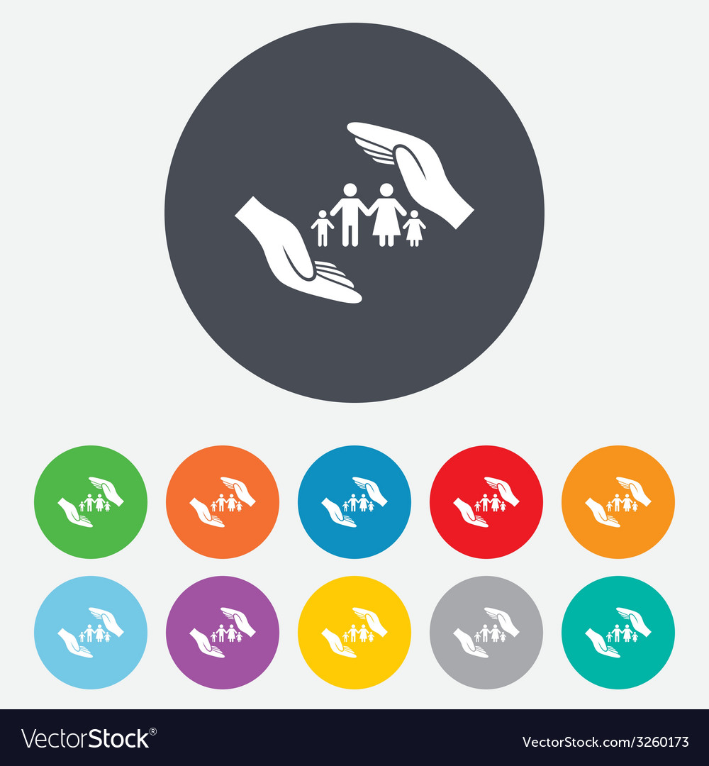 Family life insurance sign icon hands protect vector | Price: 1 Credit (USD $1)